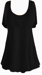 Black Cotton Lycra Mock Button Top Plus Size & Supersize Short Sleeve Top 1x 2x 3x 4x 5x 6x 7x 8x