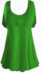 Green Cotton Lycra Mock Button or Plain Top Plus Size & Supersize Short Sleeve Shirt 1x 2x 3x 4x 5x 6x 7x 8x