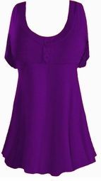 Purple Cotton Lycra Mock Button Top Plus Size & Supersize Short Sleeve Top 1x 2x 3x 4x 5x 6x 7x 8x