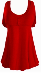 Ruby Red Cotton Lycra Mock Button or Plain Top Plus Size & Supersize Short Sleeve Shirt 1x 2x 3x 4x 5x 6x 7x 8x