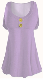 Lavender Cotton Lycra Mock Button Top Plus Size & Supersize Short Sleeve Shirt 0x 1x 2x 3x 4x 5x 6x 7x 8x
