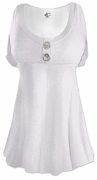 White Cotton Lycra Mock Button Top Plus Size & Supersize Short Sleeve Shirt 0x 1x 2x 3x 4x 5x 6x 7x 8x