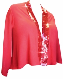 SALE! Red Red Red Sequins Plus Size Cropped Jacket 3x 4x 22/24 26/28