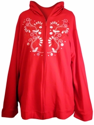 SALE! Red & White Embroidered Plus Size Hooded Zippered Sweat Shirt 26/28 30/32 3x 4x 5x