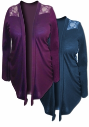 SALE! Purple or Teal Lace Jersey Plus Size Jackets 2x 3x