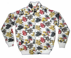FINAL SALE!  Hot  White Jacket With Yellow, Red and Black Leaf Pattern  2X 3X