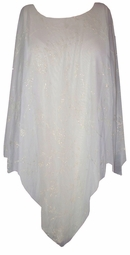 White  Sheer Silve Glittery Plus Size & Supersize Ponchos!