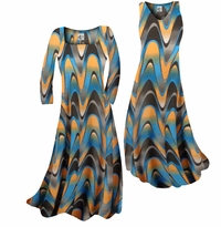 Pretty Blue & Alloy Orange Zig Zag Swirls Print Slinky Plus Size & Supersize Standard or Cascading A-Line or Princess Cut Dresses & Shirts, Jackets, Pants, Palazzo's or Skirts Lg to 9x