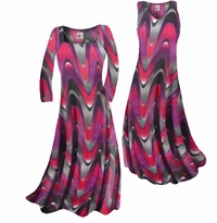 Customizable Pink and Purple Zig Zag Swirls Print Slinky Plus Size & Supersize Standard or Cascading A-Line or Princess Cut Dresses & Shirts, Jackets, Pants, Palazzo's or Skirts Lg to 9x