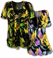 SALE! Fun Green Print & Purple Print Colorful Slinky & Lacey Babydoll Plus Size Tops  4x 5x