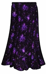 SALE! Hot! Stunning! Black & Purple Glittery Fireworks Bursts Plus Size Slinky Skirt Supersize 0x 1x 2x 3x 4x 5x 6x 7x 8x