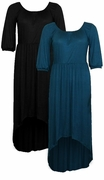 SALE! Black or Teal High-Low Cascading Plus Size Slinky Dress 5x 6x
