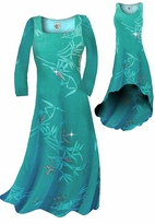 Customizable! New! Pretty Teal & Silver Sparkly Bamboo Print Slinky Plus Size & Supersize Standard or Cascading A-Line or Princess Cut Dresses & Shirts, Jackets, Pants, Palazzo's or Skirts Lg to 9x