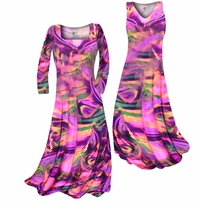 Customizable Hot Pink, Orange and Purple Wild Print Slinky Plus Size & Supersize Standard or Cascading A-Line or Princess Cut Dresses & Shirts, Jackets, Pants, Palazzo's or Skirts Lg to 9x