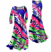 Hot Pink Green & Blue Animal Print Slinky Plus Size & Supersize Standard or Cascading A-Line or Princess Cut Dresses & Shirts, Jackets, Pants, Palazzo's or Skirts Lg to 9x
