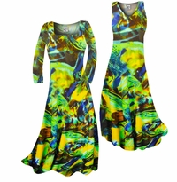 Customizable Pretty Green Yellow & Brown Print Slinky Plus Size & Supersize Standard or Cascading A-Line or Princess Cut Dresses & Shirts, Jackets, Pants, Palazzo's or Skirts Lg to 9x