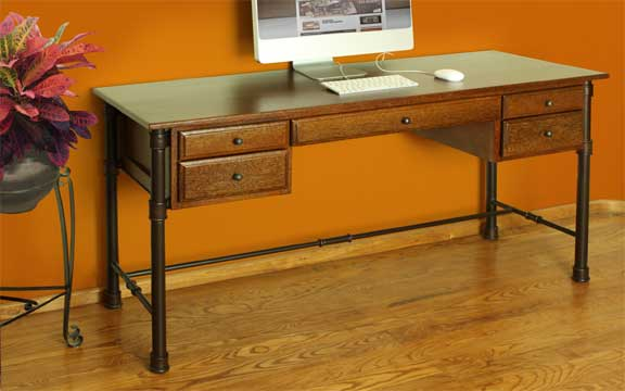 Laredo Rustic Home Office Desk W/ Metal Base