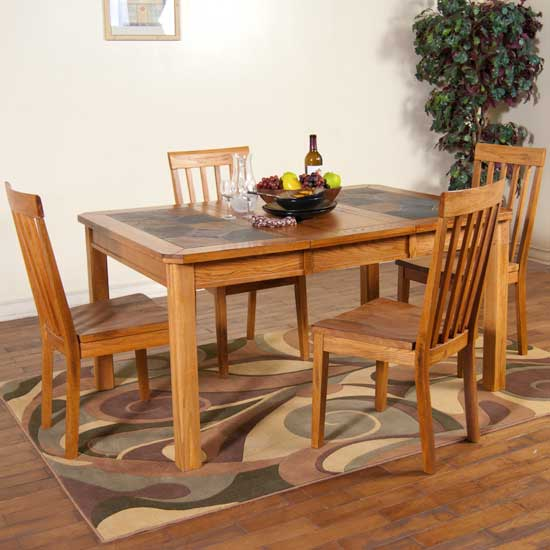 Arizona Rustic Oak Stale Top Dining Table Set W/ 6 Chairs