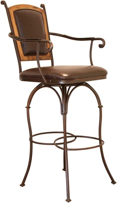 Valencia Swivel Leather Bar Stool w/ Arms