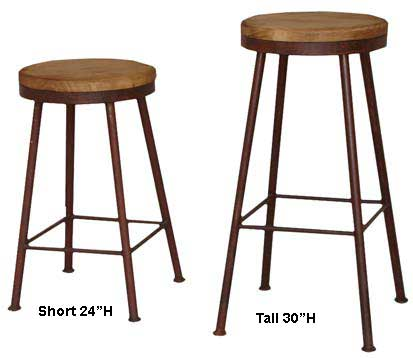 Laredo Wrought Iron Swivel Round Bar Stools