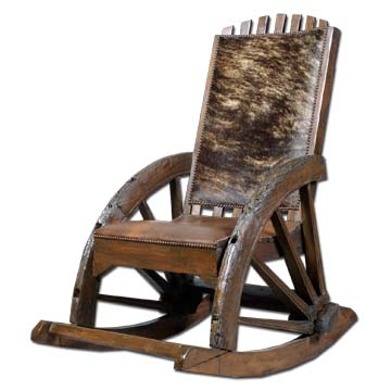 Western Teak Wood Rocking Chair W/ Leather