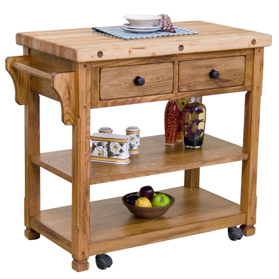 Arizona Rustic Oak Butcher Block Kitchen Island Cart