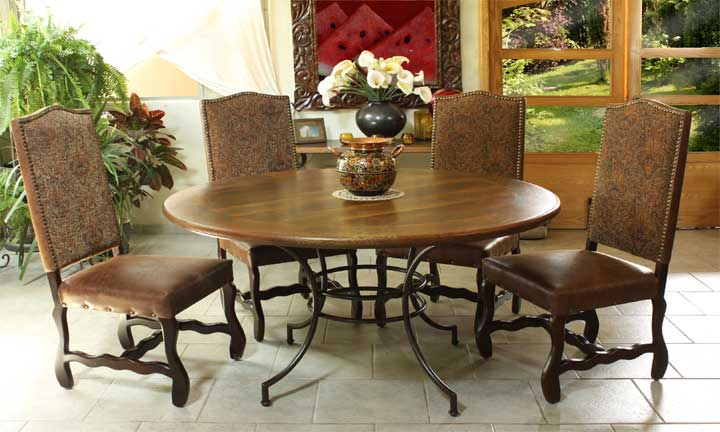 Valencia Rustic Round Table Set With Metal Base & Tapestry Chairs