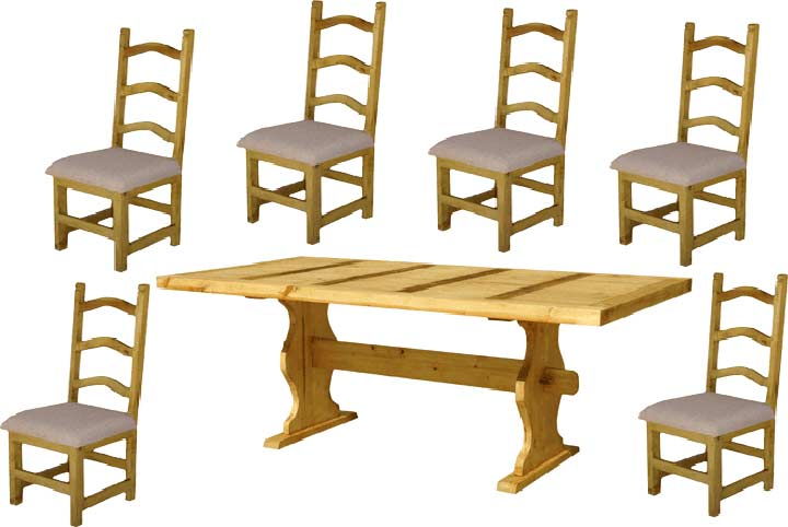 Trestle Rustic Table Dining Set