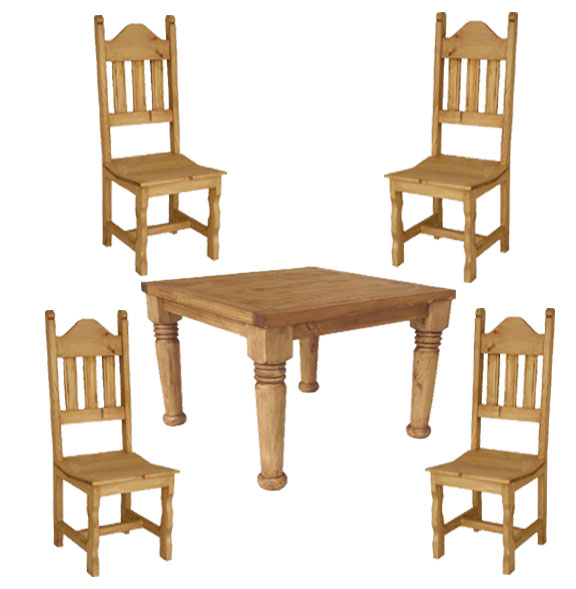 Hacienda Rustic Square Table & Chair Set