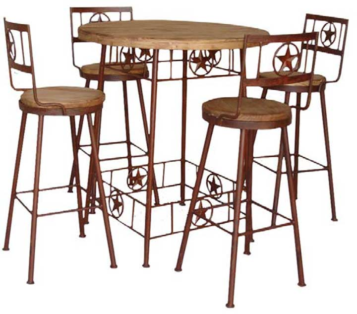 Santa Fe Rustic Pub Table Set W/ Stars
