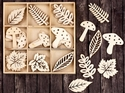 Leaves & Mushrooms Laser Cut Wood Icons In A Box Embellishments
