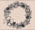 Poinsettia Wreath Woodblock Stamp