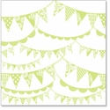 Pennants: Antique Lime 12 x 12 Overlay