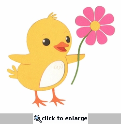 Easter Chick with Flower Laser Die Cut