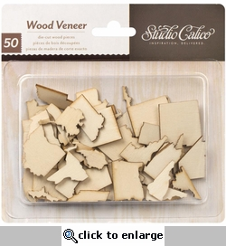 States Abroad Laser-Cut Wood Veneer Shapes