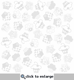 Glazed: Bazzill White With Cupcake 12 x 12 Glazed Cardstock