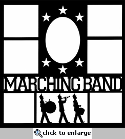 Marching Band Star Frames 12 x 12 Overlay Laser Die Cut