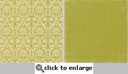 Canvas Fabrications: Green Damask 12 x 12 Double-Sided Paper