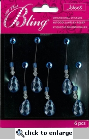 Blue Tear Drop Swing Bling Dimensional Sticker