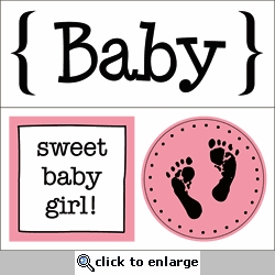 Quick Cards: Baby Girl Sticker