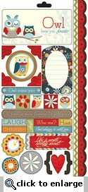 Nested Owles: Charcoal Assorted Cardstock Stickers