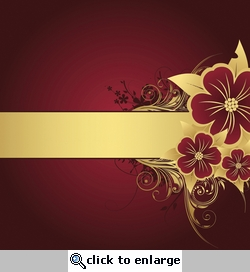 Red and Gold Flower Flourish Background 12 x 12 Paper