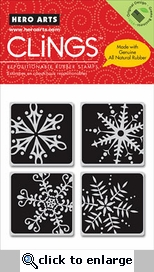 Four Framed Snowflakes Cling Rubber Stamps