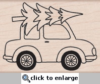Car With Tree Woodblock Stamp
