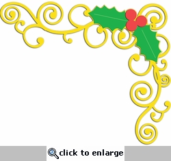 Digital Download: Holly Swirl Page Corner Laser Die Cut