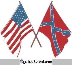 U.S. and Confederate Flags Laser Die Cut