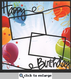 Happy Bithday Balloons 12 x 12 Overlay Quick Page Laser Die Cut