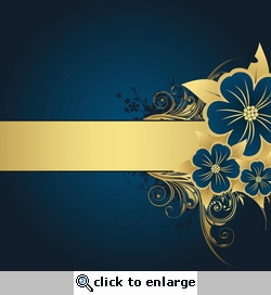 Blue & Gold Flower Flourish Background 12 x 12 Paper