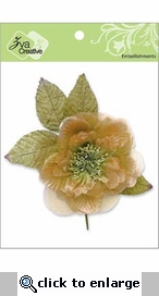 Peach Flower with Leaves Embellishment
