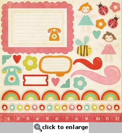 Alphabet Soup: Girl 12 x 12 Cardstock Accessories Sheet